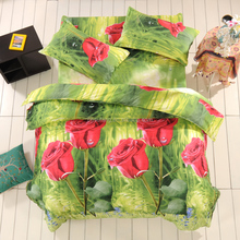 Hot selling Beautiful King queen size custom rose 3D print bedding set