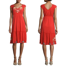 Women fitness clothing neck models cotton cutwork embroidery smocked dress