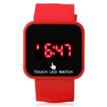 Retail 12 Color LED Touch Screen Watch for Women Girls Kids / Silicone Sports Watches 2014 Hot Fashion Digital Watches
