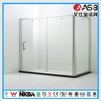 Hangzhou single handle 6mm Tempered Glass stand up shower bath
