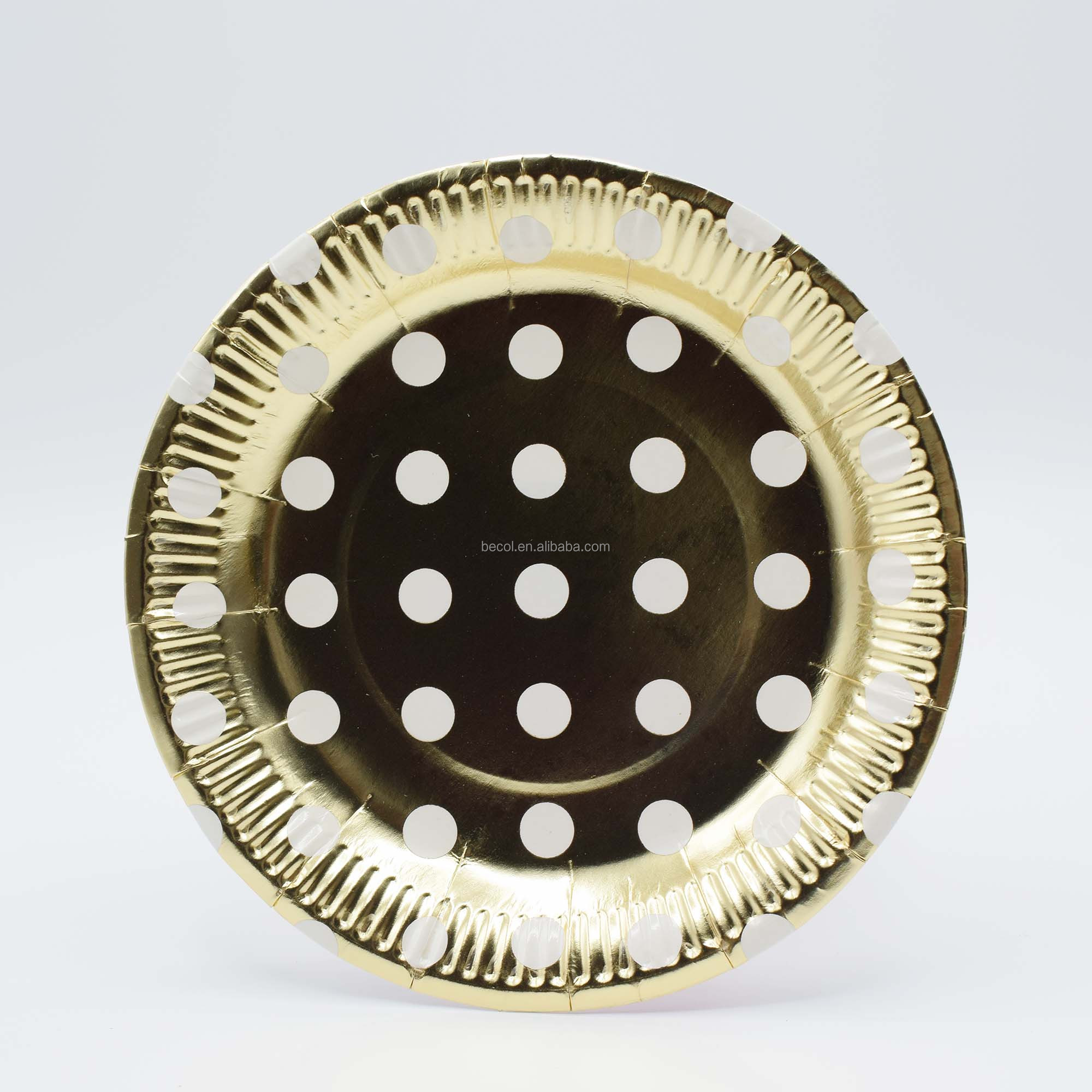 Gold Dot Disposable Tableware Kit Gold Paper Plate for Party