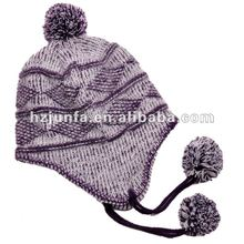 ladies fashion acrylic knitting jacquard ear muff cap