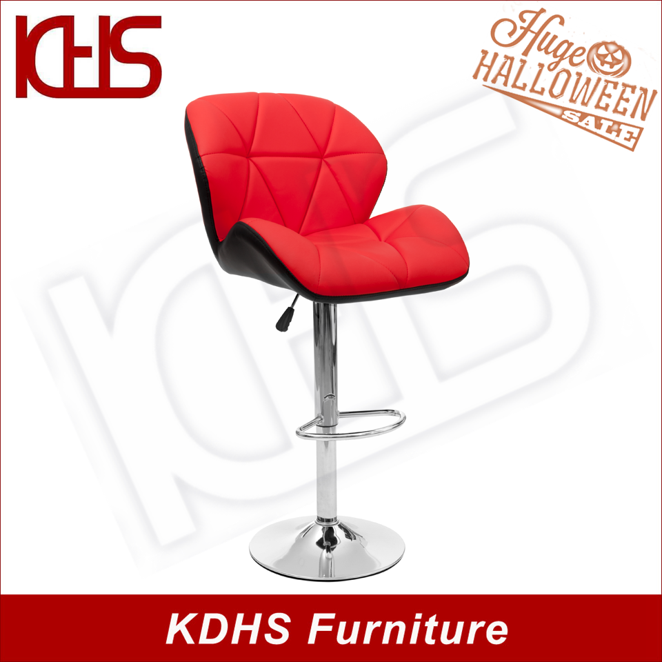 Hot sale used red leather wing back gas lifting swivel bar stools with chromed base