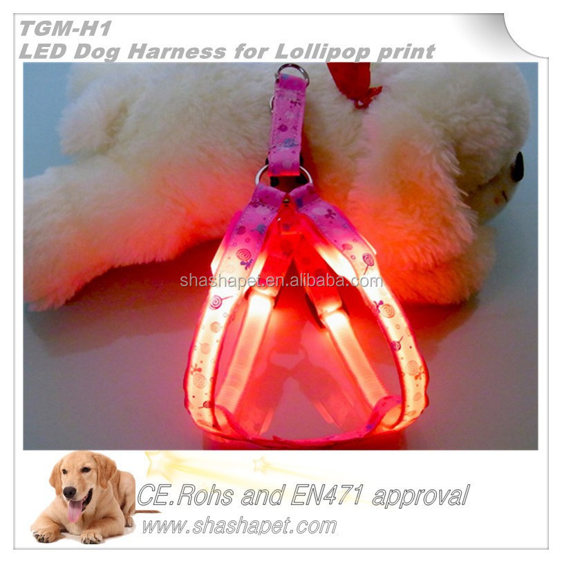 Lollipop print LED Dog Harness in dog harness with no pull dog harness