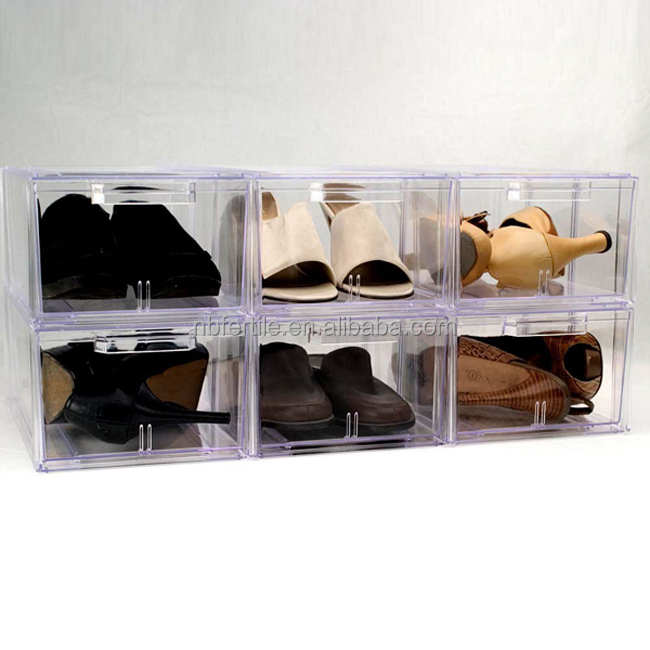 Acrylic Shoe Boxes : Drop front piece set shoe box large clear acrylic