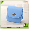 hot sales blue color metal royal crown decoration fashion PU shoulder bag for women