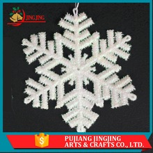 Cheap and High Quality Tree Hanging White Plastic Christmas Snowflake Ornament
