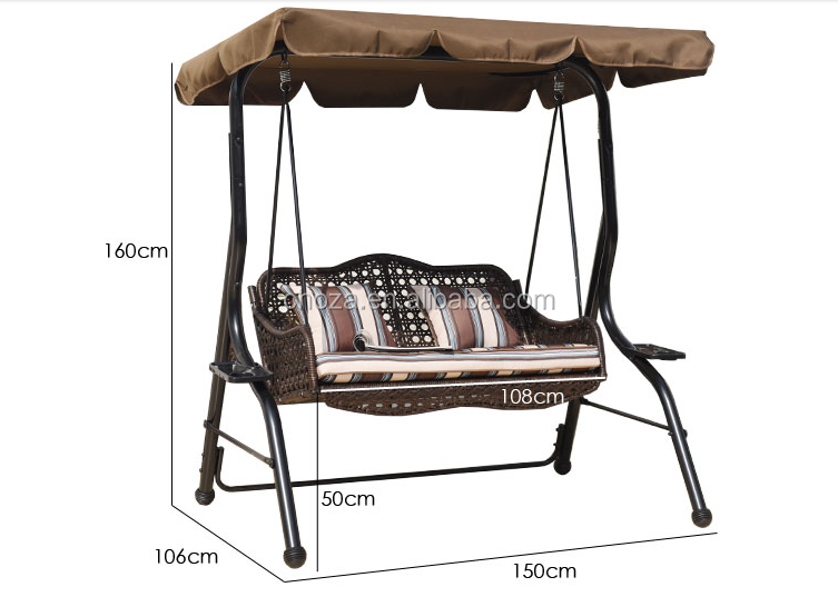 F50873A 1ratan Garden Furniture Kids And Adult Swing Chair With Wooden Parts