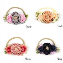 10pcs/lot Nylon <strong>Headband</strong> Macthing Satin Burn Flowers Vintage Style Hair Band Flower Crown <strong>headband</strong> For Infant