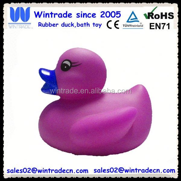 Rubber purple duck for bathroom design