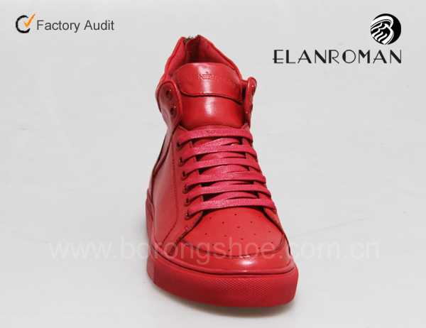 High quality fashion ankle leather sneakers for men from China factory