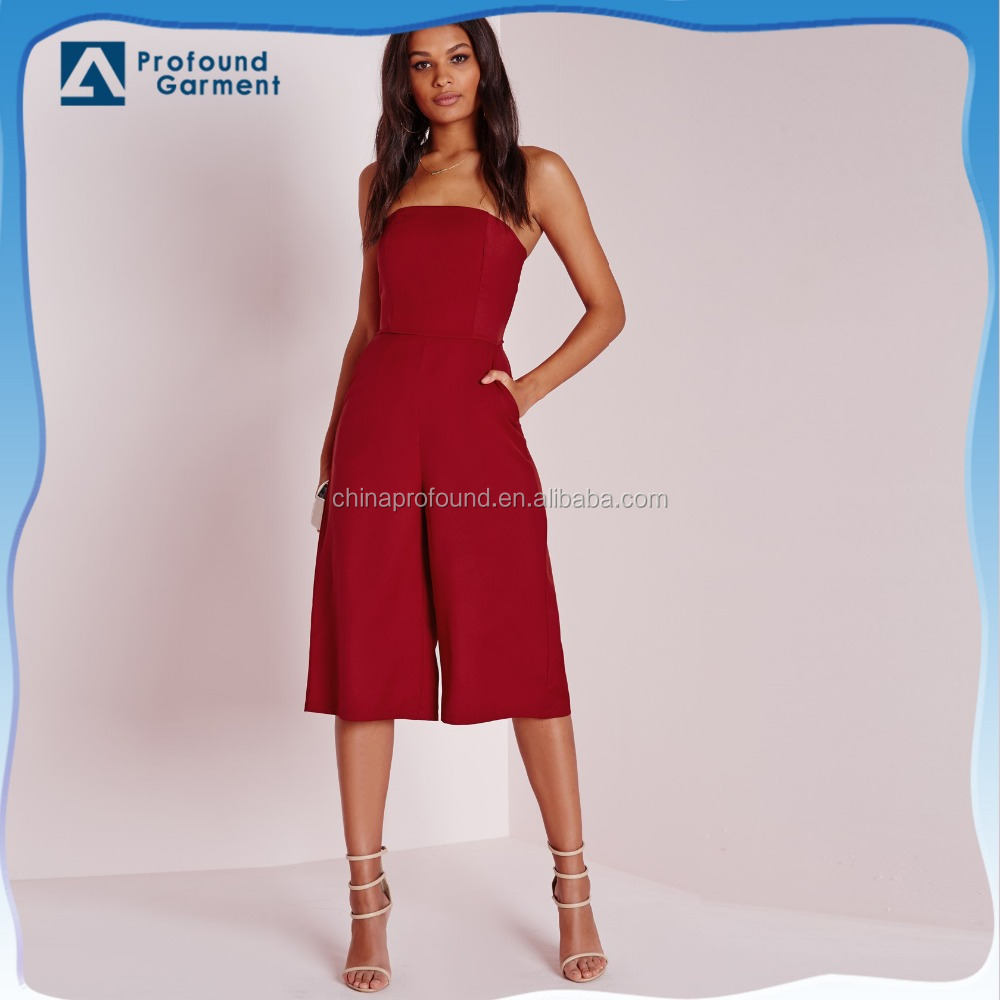hot sale new design slim fit nice bandeau culotte adult jumpsuit red