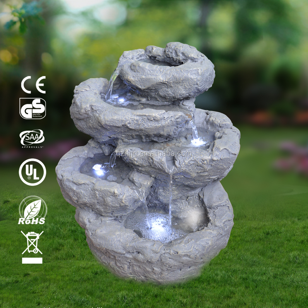 5 tiers cascading outdoor garden rock fountain, with 4 LEDs