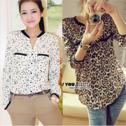 Lady Leopard Print Design Sexy Long Sleeve Silk Model Blouse for Hands