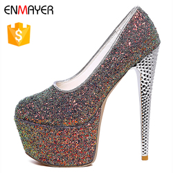 Italian fashion colorful glitter upper 6 inch stiletto high heel shoes pumps
