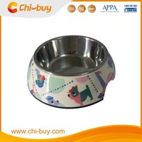 "Chi-buy Cartoon Puppy Detachable Dual Melamine Pet Bowl antiskid Dog cat food water Bowl,M Size:5.12""LX6.89""WX2.36""H"