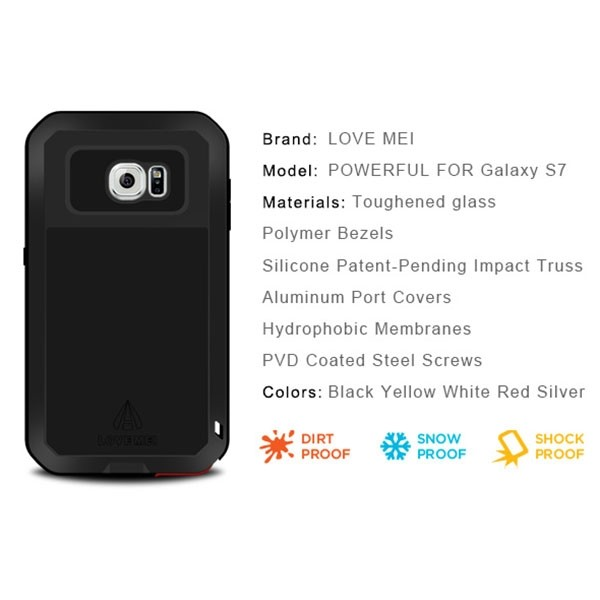 Love Mei Outdoor Full Body Cover Skin Case for S7, Shockproof Case Tempered Glass Metal Aluminum TPU Hybrid Cover for Samsung S7