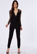 BS60007 CHINA WHOLESALE HOTTEST SEXY LADIES JUMPSUIT LACE SLEEVE JUMPSUIT BLACK