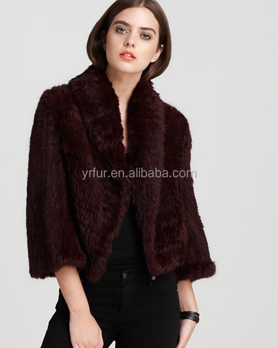 YR807 Fashion Women Knit Rabbit Fur Coat/Alibaba Online Shopping Fur Coat