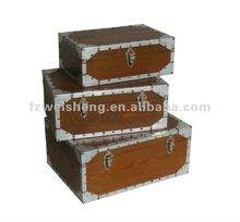 Antique Wooden Storage Trunk Set of 3