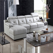 Latest modern designs sectional elegant l shaped leather sofa