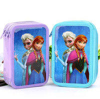 Kids Frozen Elsa Princess Three Layers Pen Case School Stationery Pencil Bag