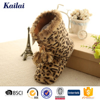 Leopard brushy plush woman anti slip boots shoes