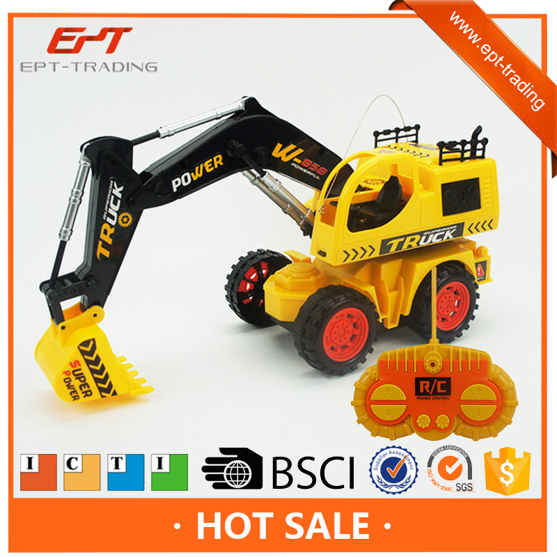Kids Toy Wireless Remote Controlled Chargeable Engineering Vehicles RC Bulldozer Truck with Light