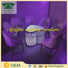 Romantic heart shaped led glass top dining table