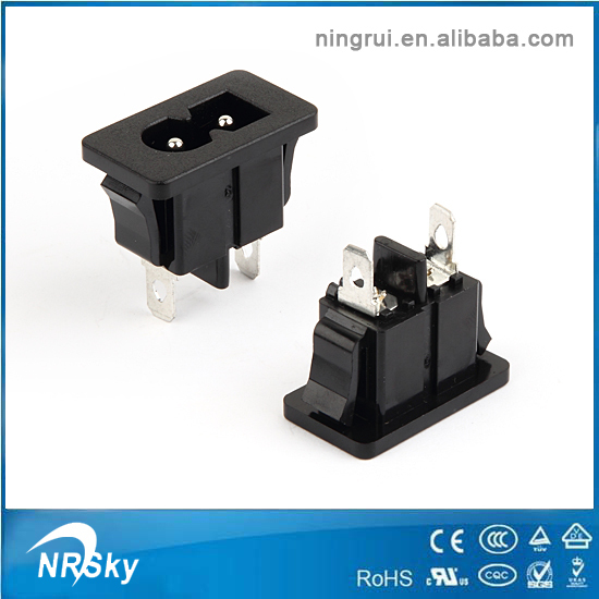 UL VDE approved 2 pin iec power inlet 2.5a ac socket