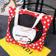 Question pageboy new Korean tide style colorful cute canvas bag single shoulder bag tote portable plain canvas grocery bag