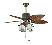 "48"" hawaiian ceiling fan - antique brass leaves blades ceiling fan with light"