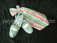Custom stripe printed shoe bag