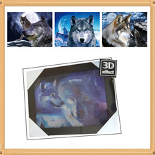 Fancy 3d art frame decorative digital photo frame home decoration 30*40cm 3d printer frame Wolf pictures