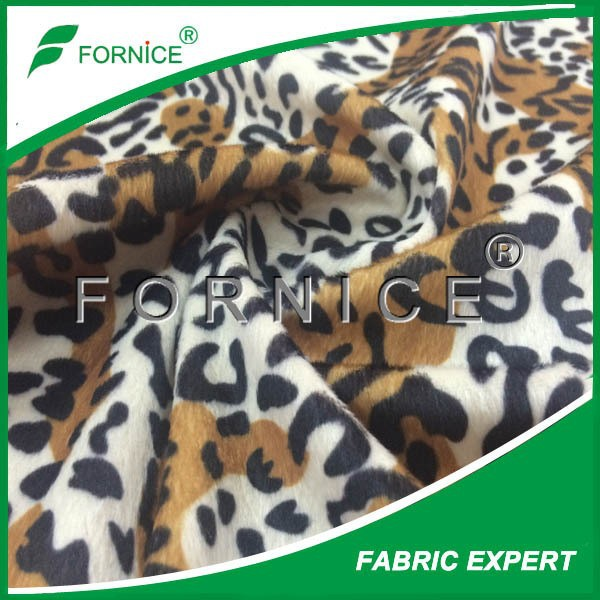 100%polyester leopard printed brushed S-wave fleece fabric