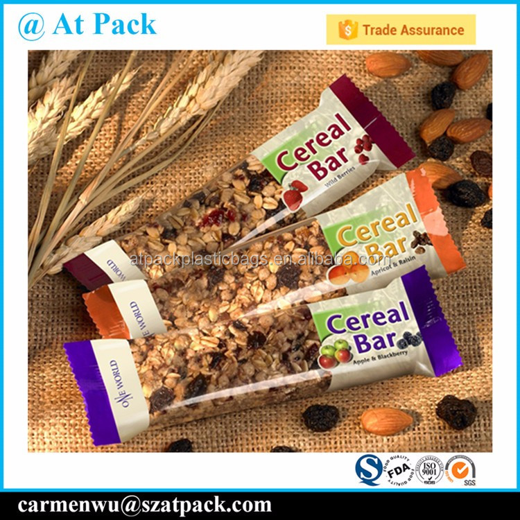 Custom printed heat sealable plastic packing bags for granola bar