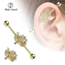 2017 Wholesale Unique 316L Surgical Steel Tree Shape CZ Plated Industrial Barbell
