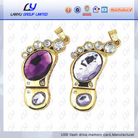 custom feet shape jewelry usb flash drive crystal usb stick hot selling mini usb flash drive