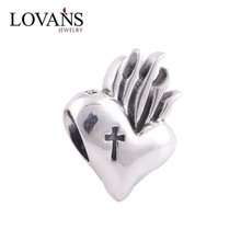 925 Sterling Silver Religion Heart With Cross Charm DIY Fits Love Bracelets Charming Star Fine Jewelry YZ238