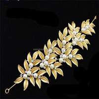 fashion princess rhinestone pearl wedding Jewelry handcraft golden metal bridal hair accessory