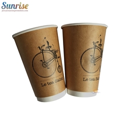 Double wall kraft coffee holder paper cup with lid