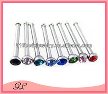 long straight bar with color crystal diamond nose ring