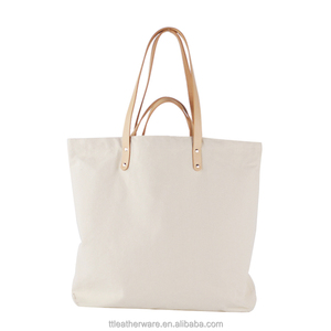Heavy Blank 12OZ Canvas Tote Bag with Genuine Leather Handles