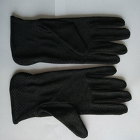 Black Cotton PVC Dotted Palm Car Driving Gloves