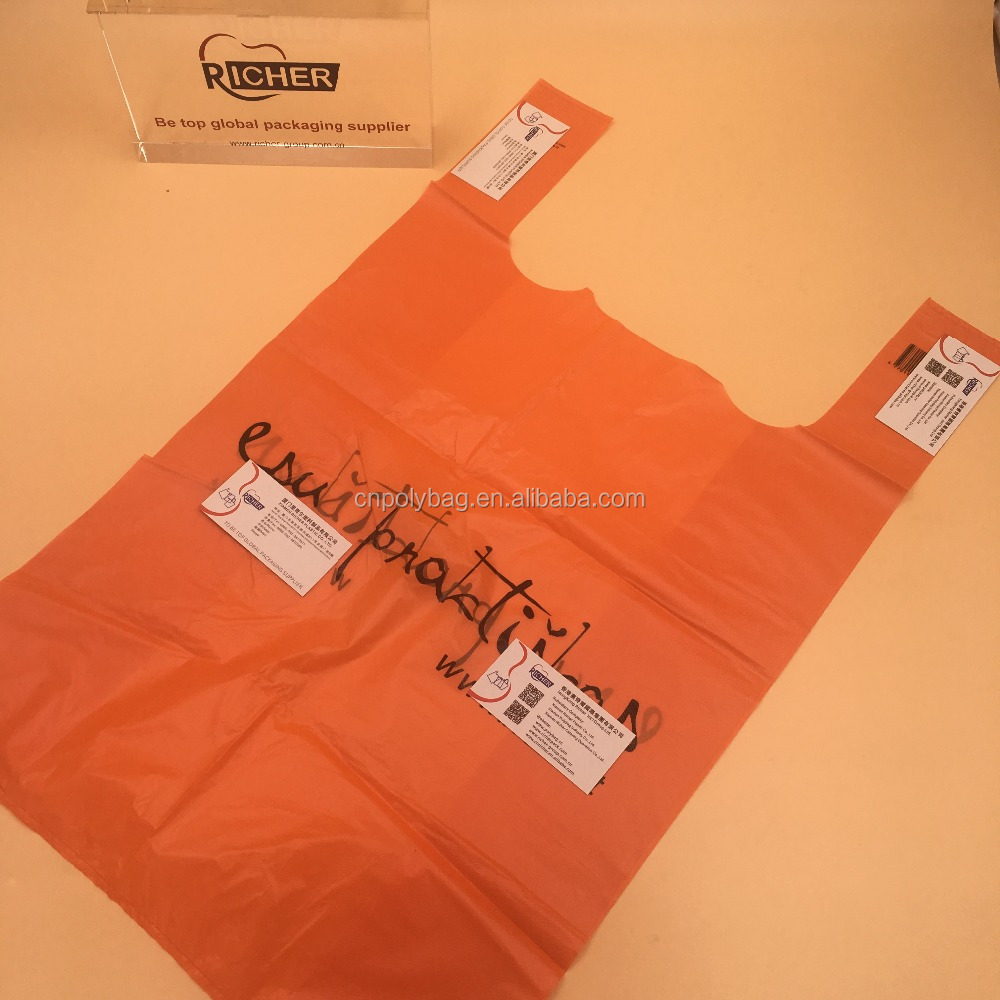 Wholesale 100% oxo biodegradable plastic bag/ reusable and recycled shopping industrial use plastic t-shirt bag