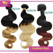 mixed color hair weave extensions body wave ombre hair weave wholesale malaysian colored two tone hair weave