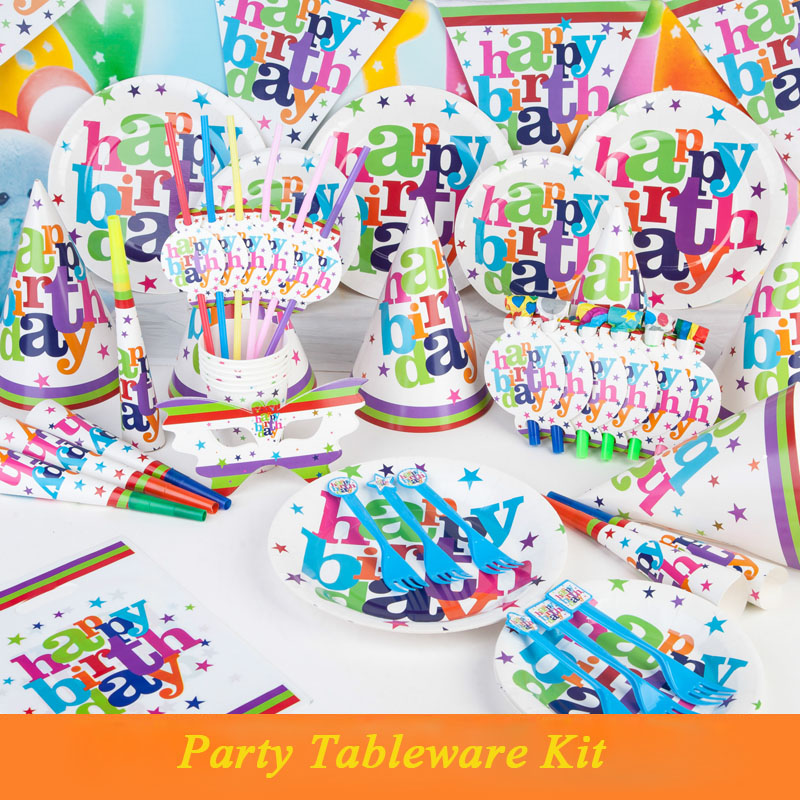 Design your own disposable spoon, fork, knife, pennant and tablecover birthday party decoration set for 6 people