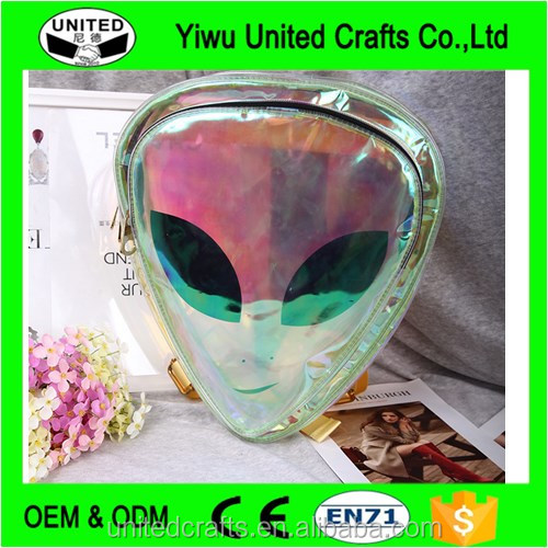 Wholesale Designer Alien Backpack Hologram Transparent bag Clear PVC Bag Purse