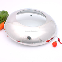 Composite-type high dome tempered glass lid for kitchenware