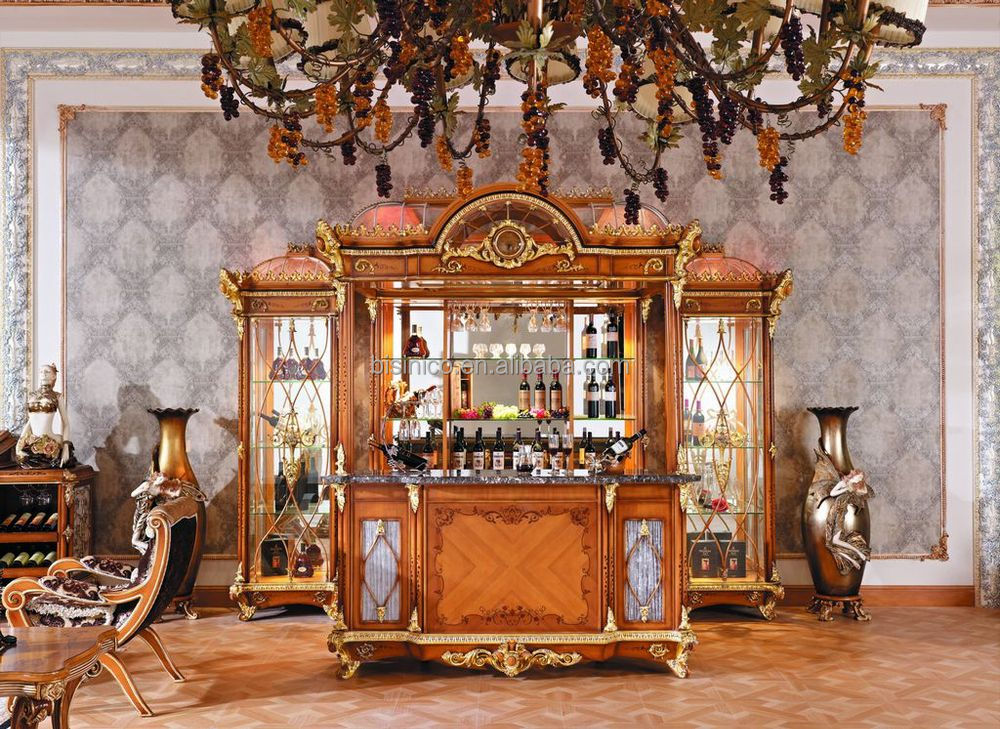 Luxury French Baroque Style Bar Furniture /European Classic Hand Carved Wooden Bar/Antique Bar Counter, Bar Stool, Wine Cabinet